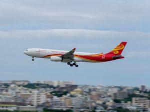 瀬長島で撮影した香港航空の飛行機
