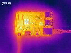 Raspberry Pi 3 Model B+の裸の状態での高負荷時温度