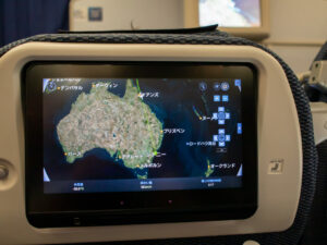 ケアンズ上空を通過していることを示す地図